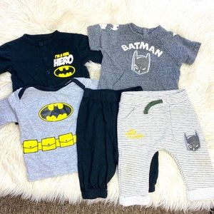 BABY BOY BATMAN MATCHING 5 PIECE BUNDLE 0-3 MONTHS